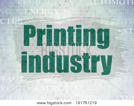 Manufacuring concept: Painted green text Printing Industry on Digital Data Paper background with   Tag Cloud
