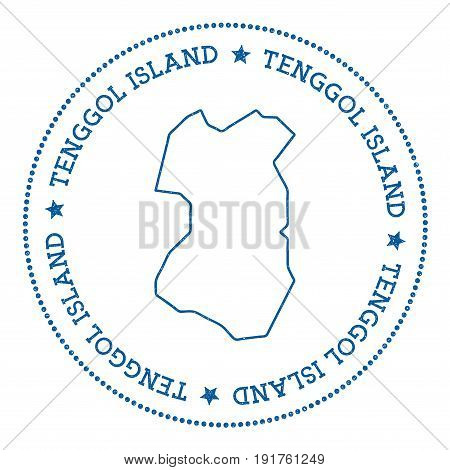 Tenggol Island Map Sticker. Hipster And Retro Style Badge. Minimalistic Insignia With Round Dots Bor