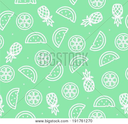 Watermelon, Pineapple and Orange Outline Tropical Fruit Background Pattern Summer Season Food. Vector illustration