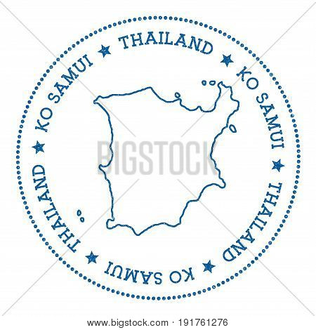 Ko Samui Map Sticker. Hipster And Retro Style Badge. Minimalistic Insignia With Round Dots Border. I