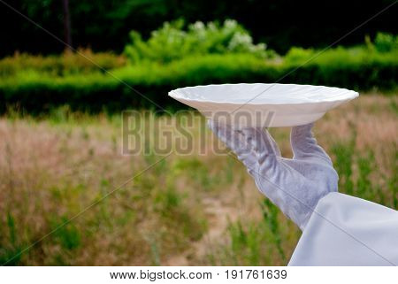 A waiter's hand in a white glove and with a white napkin holds an empty glass white big plate on a blurred background of nature green bushes and trees