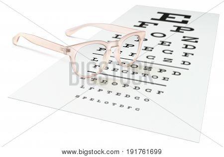 pink eyeglasses on visual test chart isolated on white. Eyesight concept