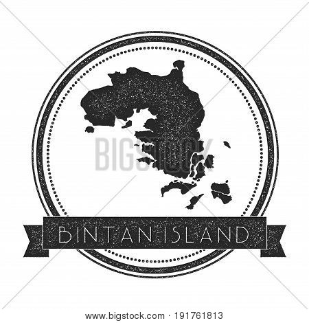 Bintan Island Map Stamp. Retro Distressed Insignia. Hipster Round Badge With Text Banner. Island Vec