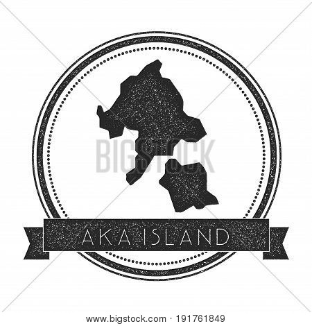 Aka Island Map Stamp. Retro Distressed Insignia. Hipster Round Badge With Text Banner. Island Vector