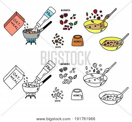 Recipe Oatmeal vector instruction illustration sketch meal food
