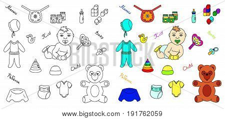 Icons set of baby vector illustration sketch