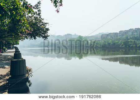 scenic view of footpath along the river in a park shot in Shanghai China.