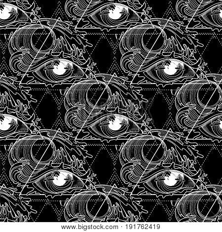 Abstract grphic eye decorated with storm waves. Sacred geometry. Blackwork tattoo or t-shirt design. Coloring book page for adults. Vector art isolated on white background.