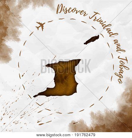 Trinidad And Tobago Watercolor Map In Sepia Colors. Discover Trinidad And Tobago Poster With Airplan