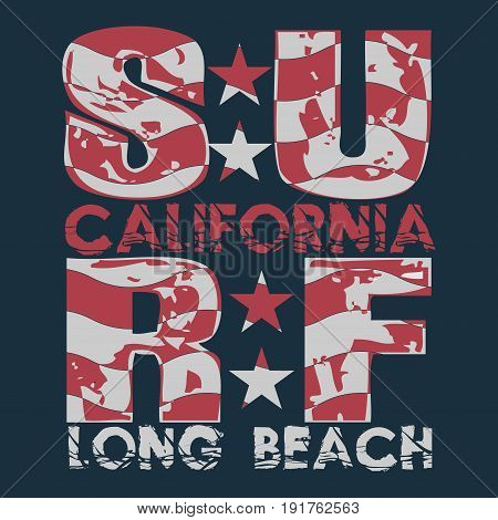 Surfing California T-shirt surfing long beach water sports inscription typography graphic design emblem