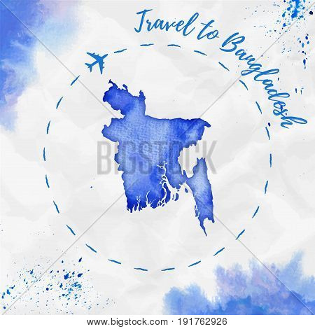 Bangladesh Watercolor Map In Blue Colors. Travel To Bangladesh Poster With Airplane Trace And Handpa