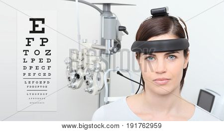 woman doing eyesight measurement balance test and visual chart background eye examination ophthalmology concept
