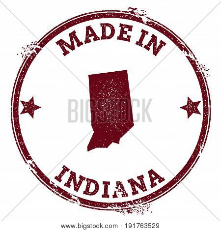 Indiana Vector Seal. Vintage Usa State Map Stamp. Grunge Rubber Stamp With Made In Indiana Text And
