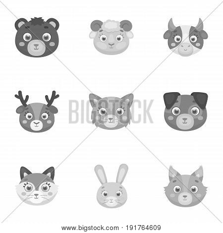 Wild and domestic animals. A set of pictures about animals. Animal muzzle icon in set collection on monochrome style vector symbol stock web illustration.
