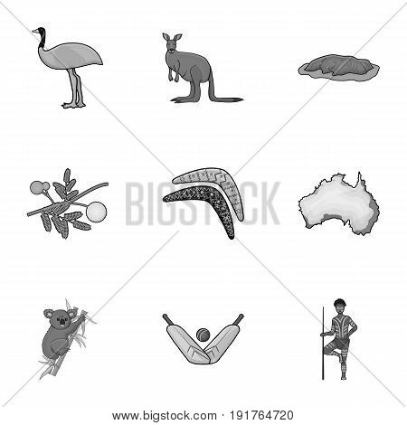 National symbols of australia. Web icon on Australia theme.Australia icon in set collection on monochrome style vector symbol stock web illustration.