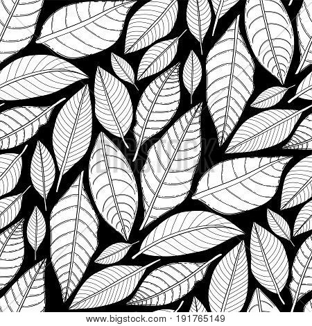 Graphic leaves seamless pattern. Vector simple drawing. Coloring book page design for adults and kids