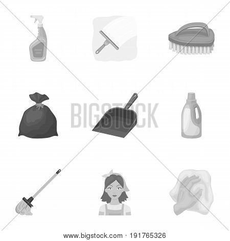 Cleaning, washing and everything connected with it. A set of icons for cleaning. Cleaning and maid icon in set collection on monochrome style vector symbol stock web illustration.