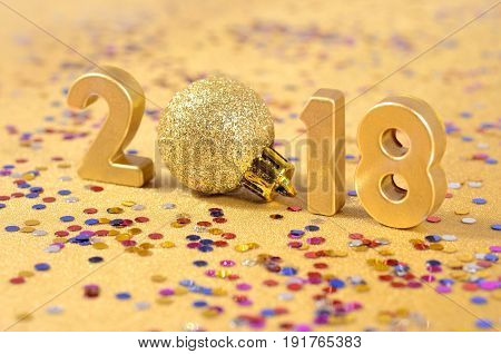 2018 Year Golden Figures And Varicolored Confetti