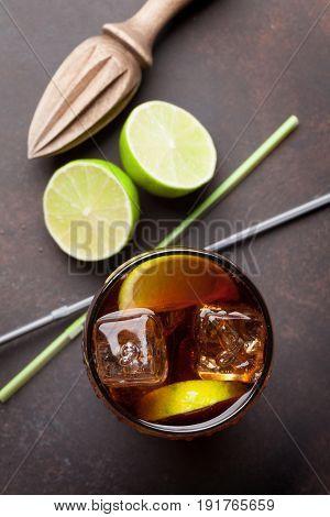Cuba libre cocktail glass. Top view