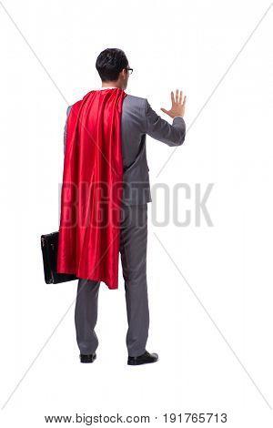 Superhero businessman isolated on white background