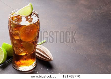 Cuba libre cocktail glass. With copy space