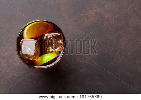 Cuba libre cocktail glass. Top view with copy space