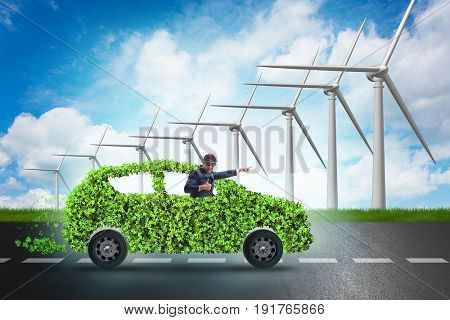 Electric car concept with windmills