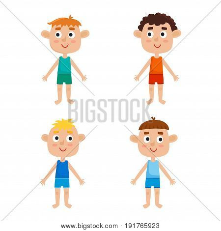 Young european boys body template: front. Boys in shirts and panties isolated on white background. Vector illustration of cute cartoon boys: red-haired, blonde, curly and brown-haired.