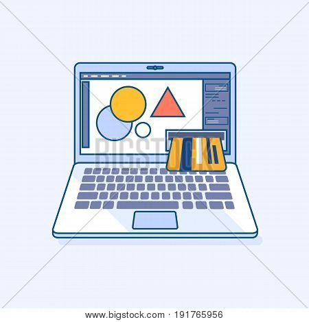 Flat line illustration of freelance designer income online work laptop or notebook atm cash machine earnings in credit card refill check of balance. Digital banking eCommerce business concept