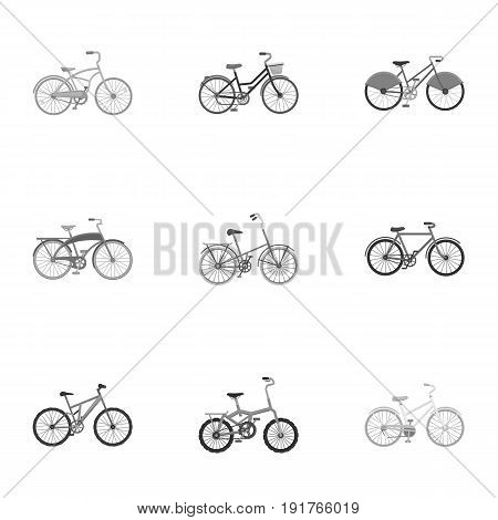 Collection of bikes with different wheels and frames. Different bikes for sport and walks.Different bicycle icon in set collection on monochrome style vector symbol stock web illustration.
