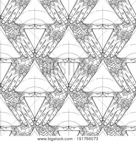 Graphic tattooed hands folded in the shape of triangle. Sacred geometry. Coloring book page design for adults and kids