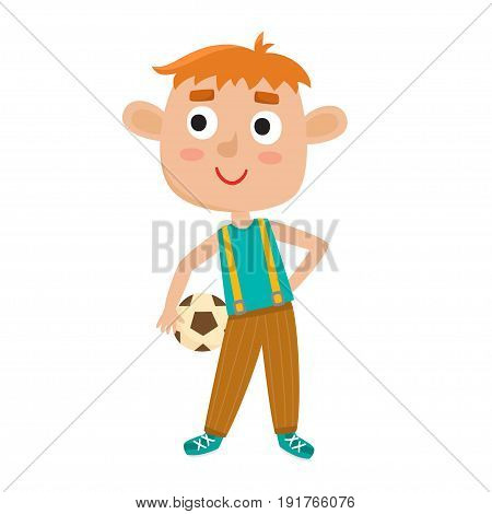 Vector illustration of little redhaired boy in shirt and jeans playing football. Cute cartoon kid with soccer ball isolated on white background. Pretty football player. Happy child.