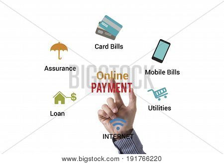 Businessman touching Payment online application. concept electronic technology banking.