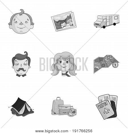 Family, family traditions, recreation. Family life.Family holiday icon in set collection on monochrome style vector symbol stock web illustration.