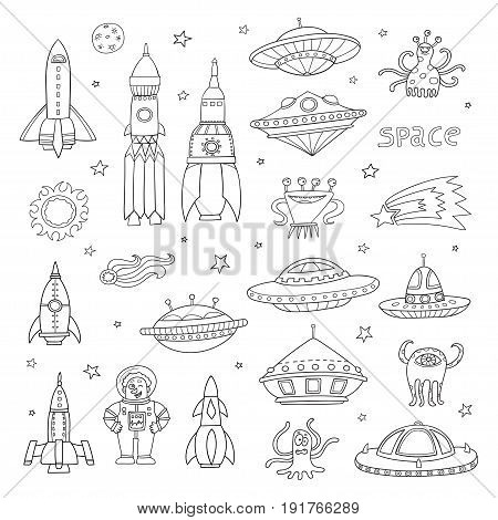 Vector set with cartoon space objects: ufo rockets, astronaut, aliens, planets and stars. Hand-drawn elements in space theme isolated on white background. Black and white elements of astronomy: stars, moons, planets.  Invitation elements. Symbol set