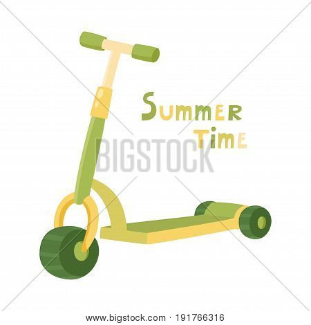 Vector roller scooter. Balance bike. Cartoon cute color kick scooter for design or web pages, posters. Green push scooter isolated on white background. Eco transport for kids