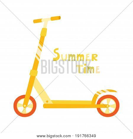 Vector roller scooter. Balance bike. Cartoon cute color kick scooter for design or web pages, posters. Yellow push scooter isolated on white background. Eco transport for kids and adults.