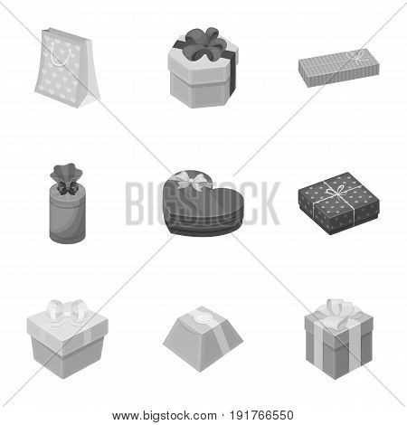 A set of pictures gifts. Gifts for different holidays, surprises. Gift packaging.Gifts and cert icon in set collection on monochrome style vector symbol stock web illustration.