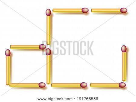 Move three matchsticks to make three squares. Logic puzzle. Vector image.