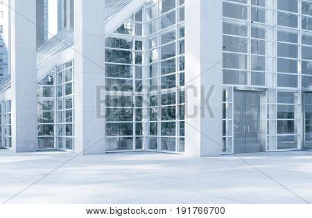 View of modern blue colored contemporary office city building  fragment