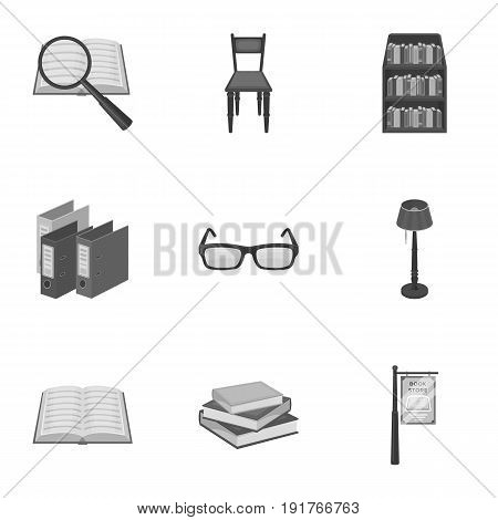 A set of icons with books. Seth about the library, reading, bookstore. Library and bookstore icon in set collection on monochrome style vector symbol stock web illustration.