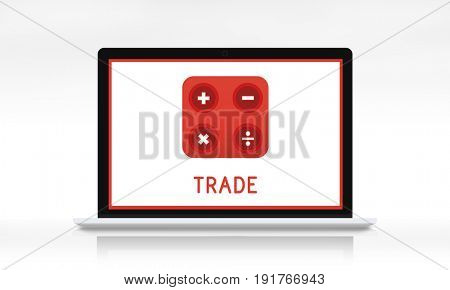 Illustration of financial trading investment calculating on laptop