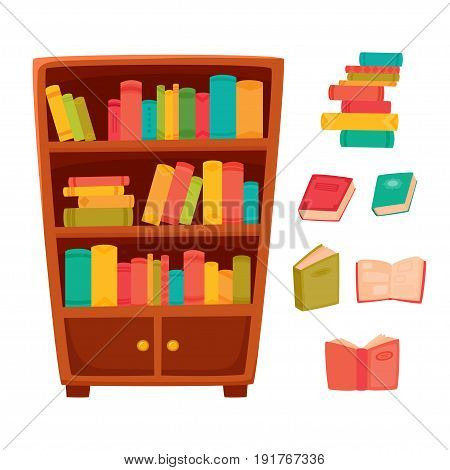 Different books on the shelves of wooden bookcase. Vector illustration of bookcase in bookstore or school, library, home. Literature for learning. Color objects for decorations, background, web pages or interior design.
