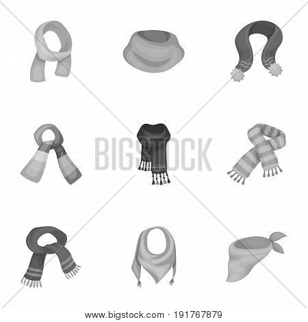 Beautiful woolen, silk-colored warm scarves of shawls. scarves and shawles icon in set collection on monochrome style vector symbol stock web illustration.