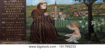 KRAPINA, CROATIA - APRIL 21: Saint Anthony of Padua altarpiece in the church of Saint Catherine of Alexandria in Krapina, Croatia on April 21, 2016.