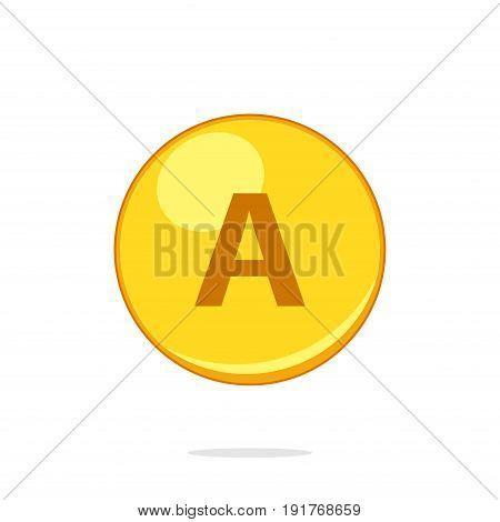 Vitamin A gold pill capcule icon isolated on white background. Retinol vitamin drop pill capsule. Vector illustartion