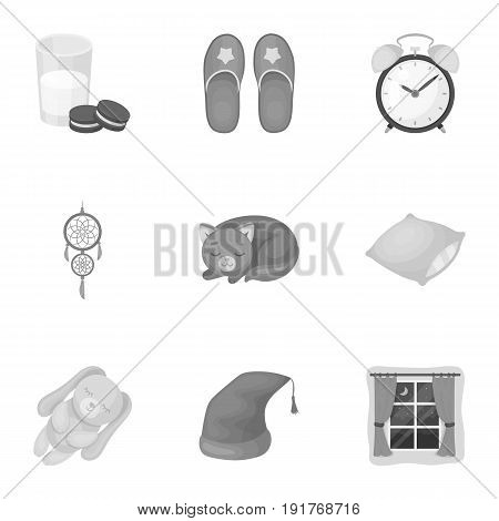 A set of pictures on a theme a dream, rest. Bed accessories for rest.Sleep and rest icon in set collection on monochrome style vector symbol stock web illustration.