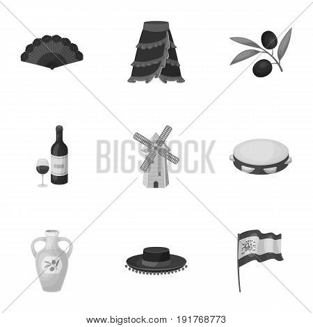 A set of pictures about Spain. Sights of Spain, gypsies, guitar, dances.Spain country icon in set collection on monochrome style vector symbol stock web illustration.