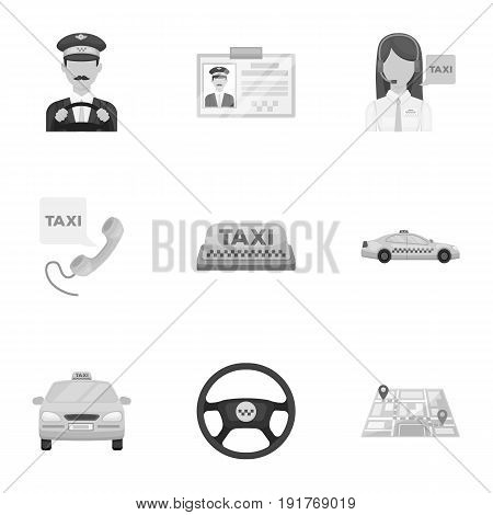 Set of icons about the taxi. A call taxi driver, Parking. Transportation around the city.Taxi icon in set collection on monochrome style vector symbol stock web illustration.