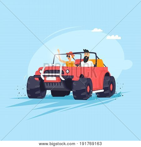 Couple going on vacation by car. Flat vector illustration in cartoon style.